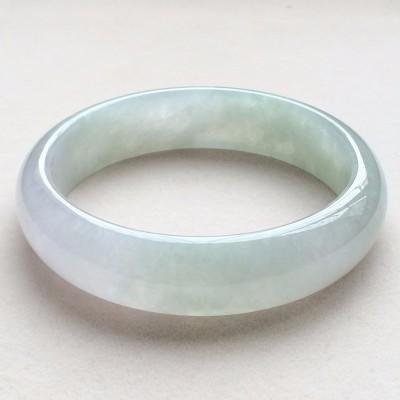 冰糯种春带彩天然翡翠扁管手镯(58.4mm)