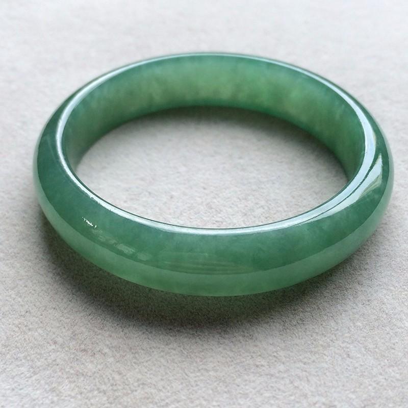 油青种天然翡翠扁管手镯(57.6mm)