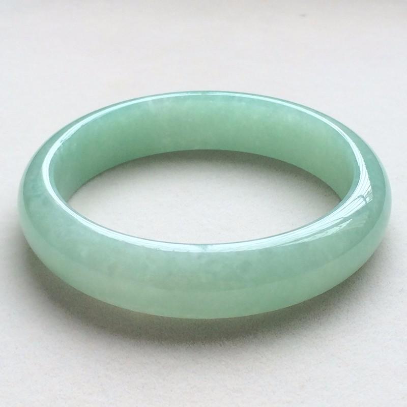 糯种飘绿天然翡翠扁管手镯13(58mm)