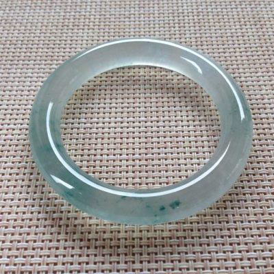 玻璃种木那料飘花 缅甸天然翡翠手镯 圆条尺寸:50.3寸