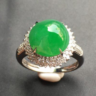 满绿蛋面 翡翠戒指 裸石尺寸:11*10.7*6.8