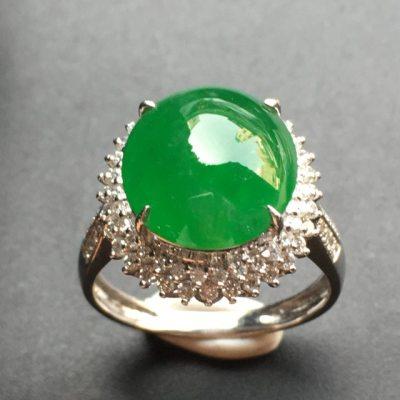 满绿蛋面 翡翠戒指 裸石尺寸:12.4*11.2*3
