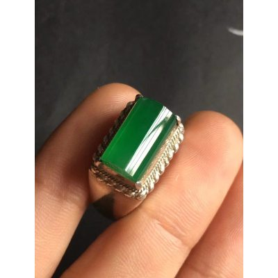 冰种满绿 翡翠戒指 尺寸13.1*8*5.6mm