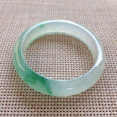 冰种飘翠翡翠手镯 正圈尺寸:53.5x12.7x7.8mm