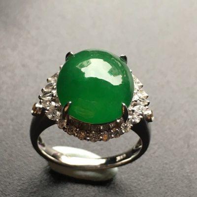 冰润满绿镶嵌翡翠戒指