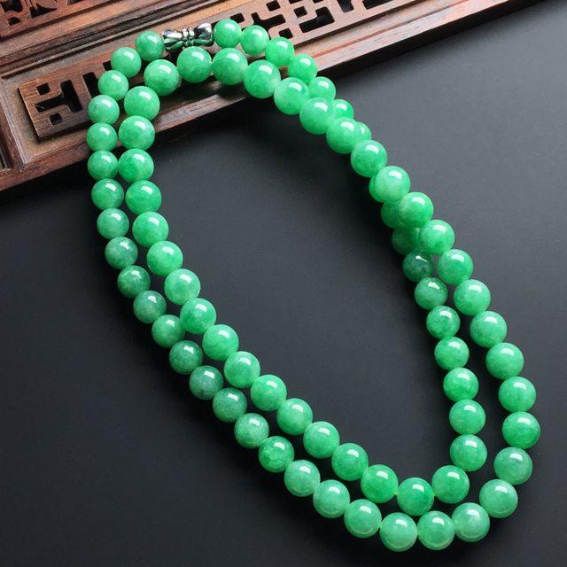 【糯化种满绿色翡翠珠链】图3