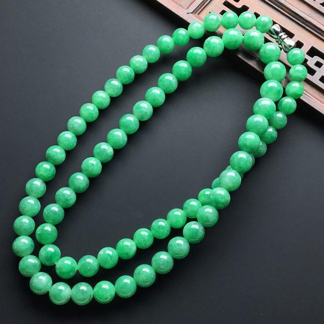 【糯化种满绿色翡翠珠链】图5
