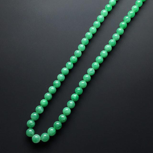 【糯化种满绿色翡翠珠链】图2