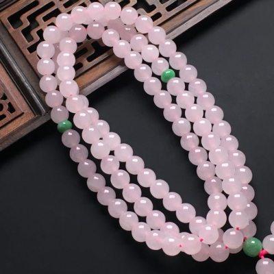 糯种粉色紫罗兰翡翠项链