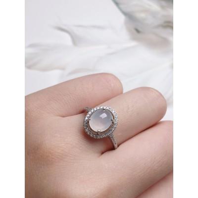 925銀鑲嵌冰透蛋面翡翠戒指